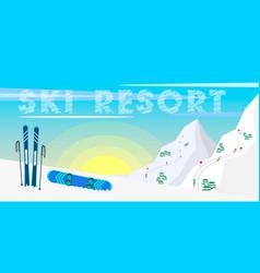 winter web banner design ski resort ski equipment vector image