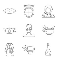 Woman pleasure icons set outline style vector