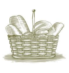 Woodcut bread basket vector