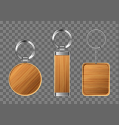Wooden keychains keyring holders with metal rings vector