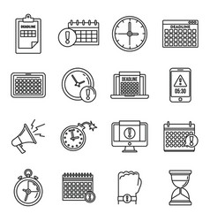 work deadline icons set outline style vector image
