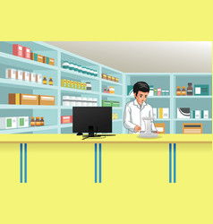 working pharmacist at pharmacy vector image
