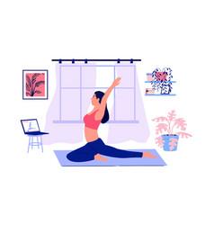 yoga online cartoon girl doing sport exercises vector image