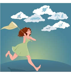 Young woman pursuing her dreams vector