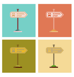 Assembly flat icons school stop sign vector