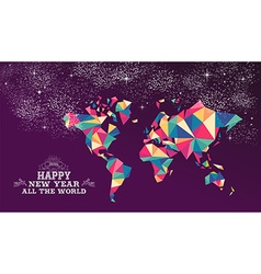 Happy new year 2016 world triangle hipster color vector image
