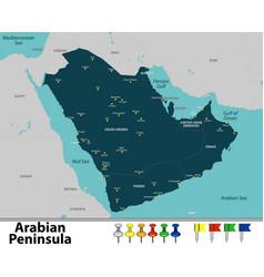 map of arabian peninsula vector image
