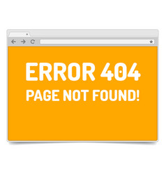 page 404 error on opened internet browser window vector image