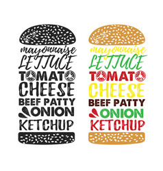 poster lettering burger hand drawn typography vector image vector image