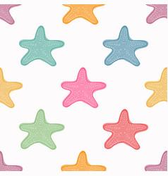sea stars seamless pattern colorful starfish vector image