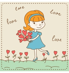 Vintage Valentines day card of girl with hearts vector image