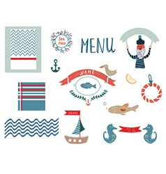 Fish restaurant menu design elements in funny vector image