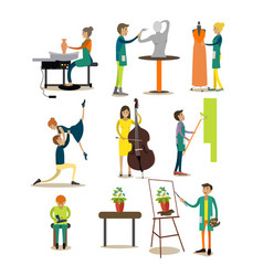 flat icons set of artistic profession vector image