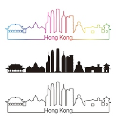 Hong Kong V2 skyline linear style with rainbow vector image