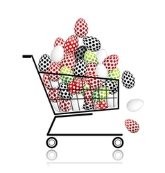 Pile of eggs in shopping cart for your design vector image vector image
