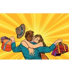 Wife hugs her husband with gifts vector image vector image