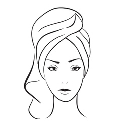 beauty woman with towel vector image vector image
