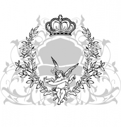 crowned cupid vector image vector image