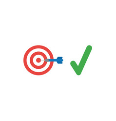 flat design style concept of bulls eye with dart vector image