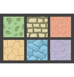 Ground seamless patterns set stone vector image