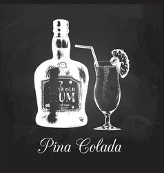 Hand sketched rum bottle and pina colada glass vector