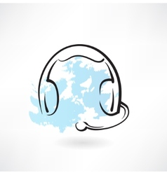 headset with microphone grunge icon vector image vector image