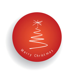 Merry christmas tree and label in the red circle vector