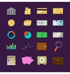 money finance banking icon set flat vector image