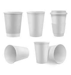 Realistic coffee cup mock up set vector