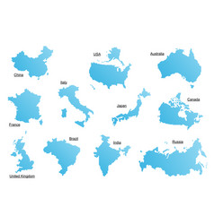 set of blue countries vector image vector image