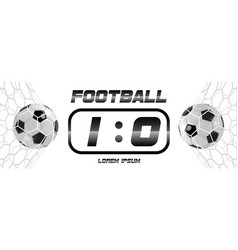 soccer or football black banner with 3d ball and vector image vector image
