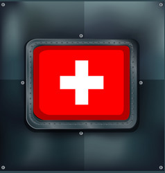 switzerland flag on metalic background vector image vector image