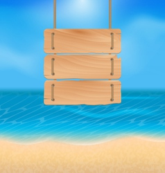 Blank wooden sign on beach natural seascape vector