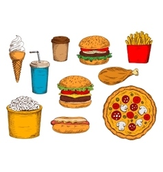 Burger menu sketch symbol with desserts and drinks vector image vector image