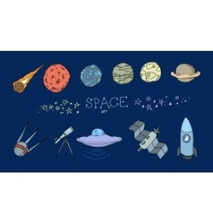 Colored doodle space set vector image
