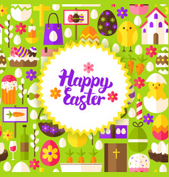 flat happy easter postcard vector image vector image