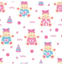 Seamless pattern with cute baby hippo vector image vector image
