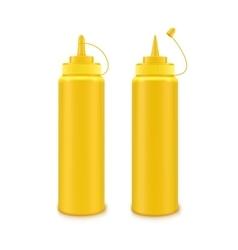 Set of Plastic Yellow Mustard Bottle Isolated vector image vector image