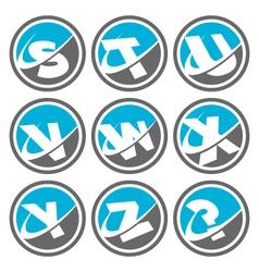 Swoosh Alphabet Logo Icons Set 3 vector image vector image