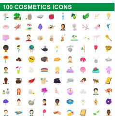 100 cosmetics icons set cartoon style vector image