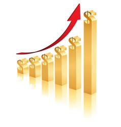 3d raising business dollar graph vector