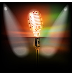 Abstract dark background with retro microphone on vector
