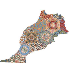 Abstract morocco map traditional tiles pattern vector