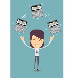 Accountant holding calculator vector