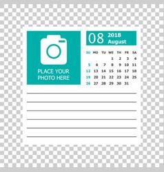 August 2018 calendar calendar planner design vector