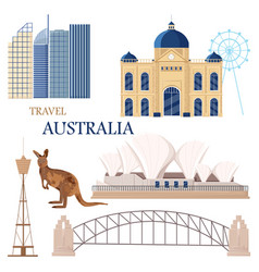 australia set collection architecture and symbols vector image