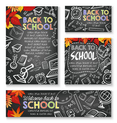 Back to school chalkboard study posters vector