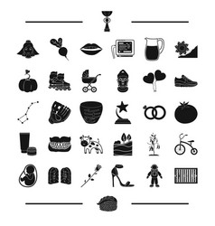 Baseball mine and other web icon in black style vector