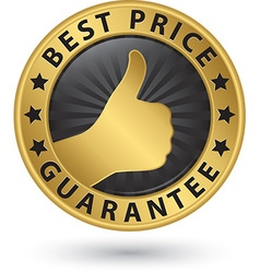 Best price guarantee golden label with thumb up vector