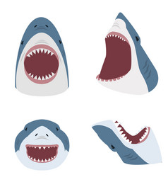 Big shark with open mouth set vector